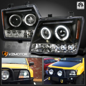 Black Led Halo Projector Headlights Set For 2005 2012 Nissan Xterra