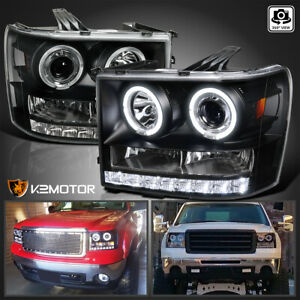 2007 2013 Gmc Sierra 1500 2500hd 3500hd Dual Halo Projector Headlights Black