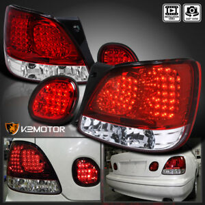For 98 05 Lexus Gs300 Gs400 Gs430 Red Clear Led Rear Tail Trunk Lamps Light Pair