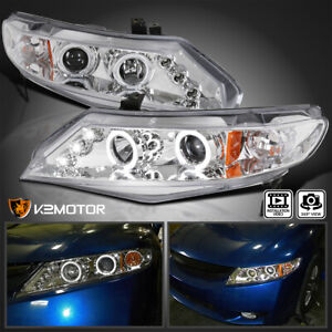 For 2006 2011 Honda Civic 4dr Sedan Clear Led Halo Projector Headlights Lamps
