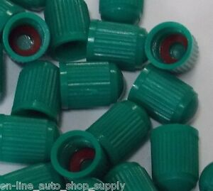 12 Pcs Green Plastic Tpms Tire Valve Stem Caps With Seal For Nitrogen Inflation