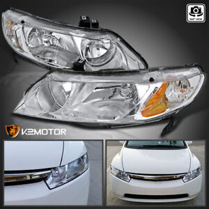 For 2006 2011 Honda Civic 4dr Sedan Clear Headlights Head Lamps Left Right Pair