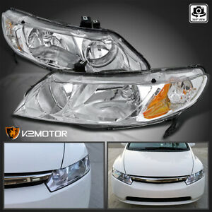 For 2006 2011 Honda Civic 4dr Sedan Chrome Headlights Crystal Clear Head Lamps