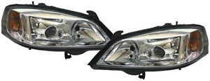 Chrome Clear Finish Xenon Headlights Front Lights For Opel Astra G 97 04