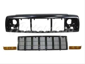For 1997 2001 Cherokee Front Header Mounting Panel Grille Blk Park Light 4pcs
