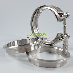 3 5 Inch V Band Clamp Flange Kit 89mm Turbo Exhaust Heavy Duty Stainless Steel