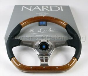 Nardi Steering Wheel Kallista 350 Mm Mahogany Wood And Black Perforated Leather