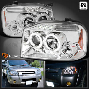 For 2001 2004 Nissan Frontier Led Drl Dual Halo Clear Projector Headlights Lamps