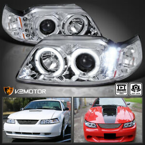 For 1999 2004 Ford Mustang Crystal Clear Lens Led Halo Projector Headlights Set