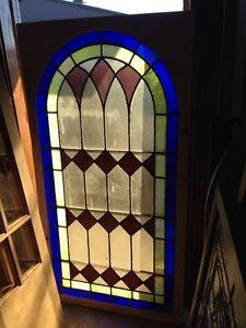 Sg 131 Antique Arch Stained Glass Window 33 5 X 63 5
