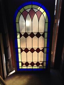 Antique Arch Top Stained Glass Window 33 25 X 63 25 High Sg 134