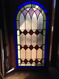Sg 135 Antique Arched Top Stained Glass Window 33 375 X 63 375