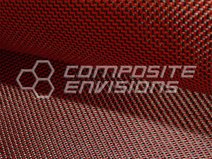 Carbon Fiber Made With Kevlar Red Fabric 2x2 Dual Twill 50 3k 6 5oz