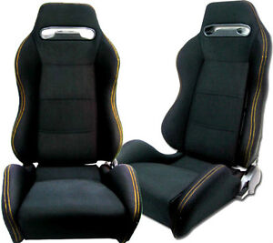 New 1 Pair Black Cloth Yellow Stitch Racing Seats All Ford