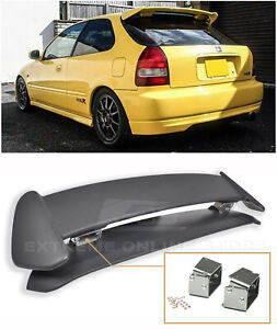 Type R Rear Spoiler W Adjustable Alex Tilt Brackets For 96 00 Civic Hatchback