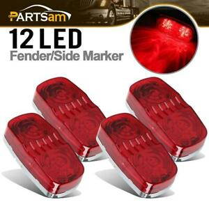 4 Red 12 Diodes Rectangle Clearance Side Marker Truck Trailer Light Rear Replace