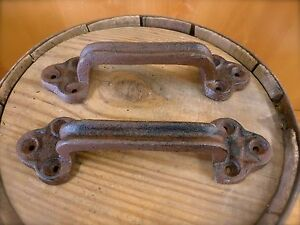 2 Large Brown 9 Door Gate Handles Pulls Rustic Antique Style Cast Iron Drawer