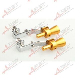 2pc Universal Turbo Sound Exhaust Whistle fake Blow Off Bov Simulator Golden S B