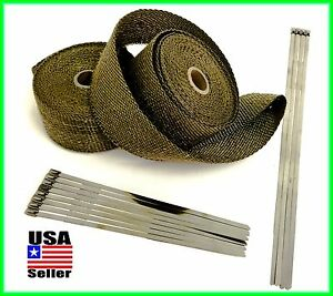 Titanium Lava Exhaust Header Pipe Heat Wrap 2 Rolls 2 x 25 Stainless Ties Kit
