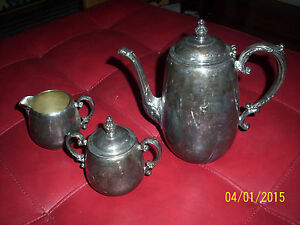 Antique W M Rogers 3 Pc Silverplate Tea Set Service Pot Sugar Creamer 19th Cent