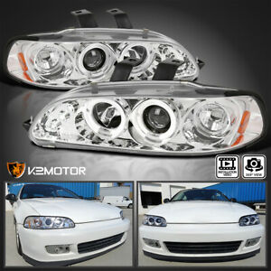 For 1992 1995 Honda Civic 2 3 4 Dr Led Halo Crystal Clear Projector Headlights
