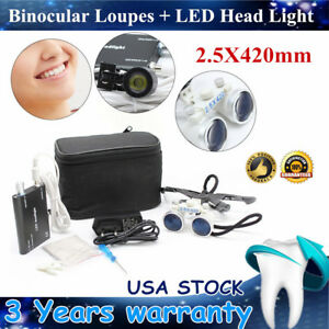 2 5x Dental Surgical Binocular Loupes 420mm Glass Loupe Led Head Lamp Hot Sell