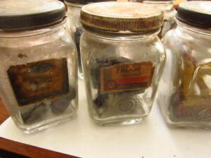 Guarenteed Parts Automobile Glass Jars Vintage Car Advertising set Of 6
