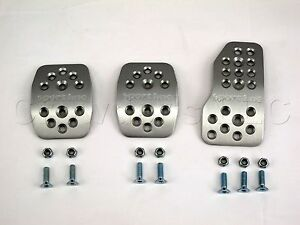 Sport Line Manual Transmission Rally Pedal Kit Silver Aluminum With Holes
