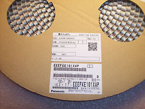 Qty 900 100uf 25v 105 Low Esr Smd Electrolytic Eeefke101xap Panasonic