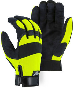 Majestic 2137hy Armor Skin Mechanics Gloves Black yellow Size Large 12 Pair