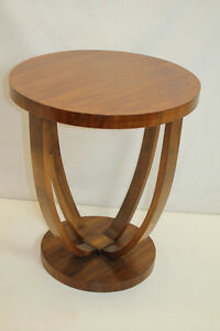 1920 S Art Deco Modern French Walnut Side End Table