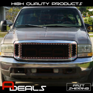 Ford Excursion 1999 2004 F 250 F 350 00 04 Steel Black Mesh Rivet Grille Insert