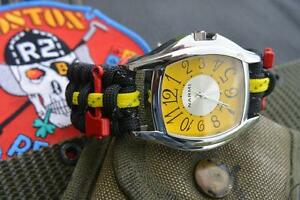 Yellow Reflective Firefighter Fire Rescue Bunker Turnout Gear 550 Paracord Watch