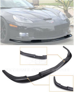 For 05 13 Corvette C6 Z06 Zr1 Style Painted Black Front Bumper Splitter Lip