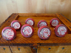 8 Red White Lace Glass Drawer Cabinet Pulls Knobs Vintage Restoration Hardware
