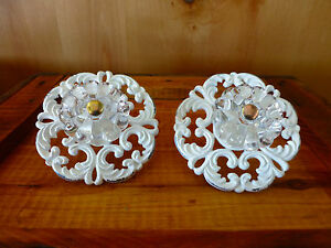 2 White Victorian Drawer Pulls Handles Knobs Metal Vintage Hardware Shabby Chic