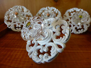 4 White Victorian Drawer Pulls Handles Knobs Vintage Restoration Hardware Chic