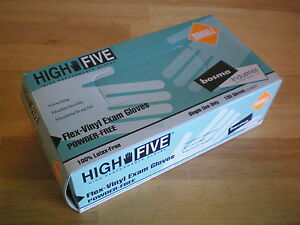 High Five Flex vinyl Exam Gloves Small Case Lot 10 Boxes Total Qty 1000