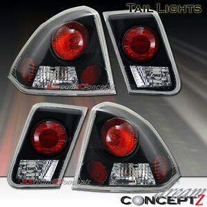2001 2004 Honda Civic 4dr Sedan Only Tail Lights Lamps Black Housing 4 Pieces