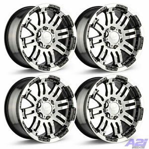 Set 4 17 Vision Warrior Black Machined Rims 17x8 5 6x5 5 Chevy Gmc Truck 6 Lug