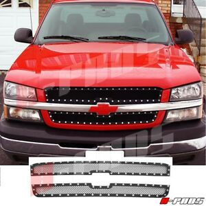 For Chevy Silverado 1500 Ss 2003 2005 Black Steel Wire Mesh Grille With Rivets