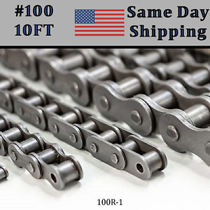 100 Roller Chain 10 Ft Free Connecting Link Same Day Priority Shipping