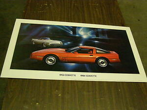 Oem 1984 Chevrolet Corvette Coupe Dealership Display Picture Cardboard