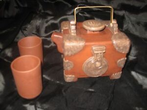 Yixing Clay Teapot With Lid And 2 Cups Handmade In China