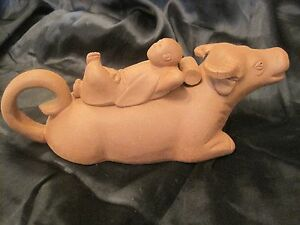Chinese Clay Teapot With Lid Bull With China Man Lid Un Marked Yixing