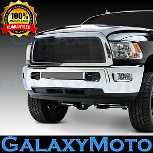 Black Billet Grille Replacement Chrome Shell For 13 17 Dodge Ram Truck 2500 3500