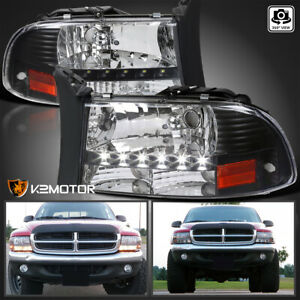 Black 1997 2004 Dodge Dakota Durango Led Headlights Head Lamps Left right