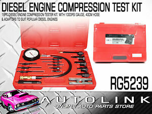 19 Piece Diesel Compression Tester Kit With Adapters For Popular Cars Trucks