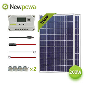 Newpowa 200w Watt Solar Panel 12v System Controller Mounts Mc4 Wire Charging Kit