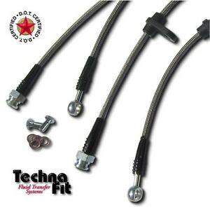 Stainless Steel Braided Brake Line Front Rear Techna Fit Set Ac 1110 Fit Integra